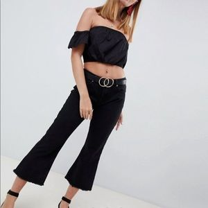 Missguided black cropped flare jeans